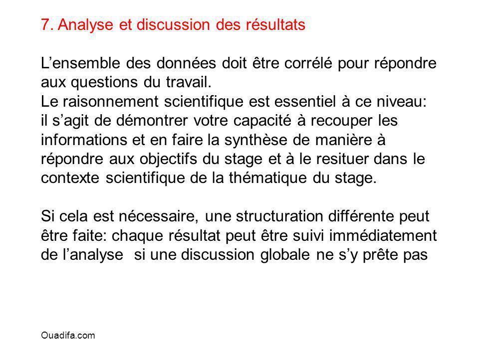 7. Analyse et discussion des résultats Lensemble des données doit être corrélé pour répondre aux questions du travail. Le raisonnement scientifique es