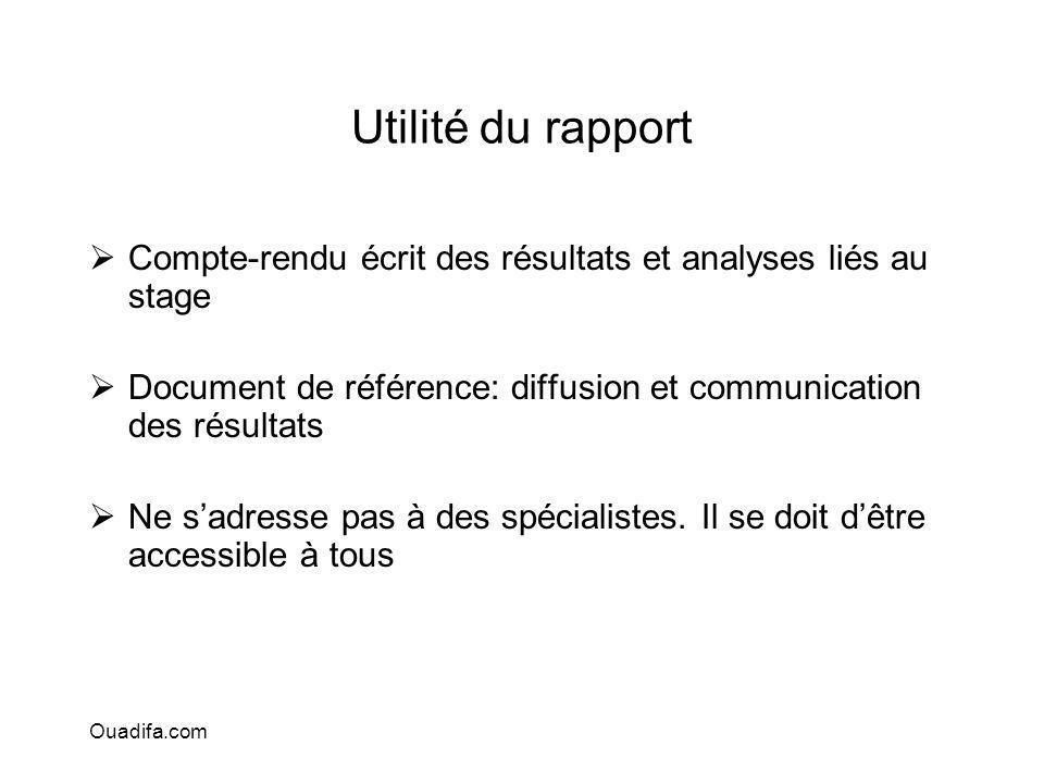 Utilité du rapport Compte-rendu écrit des résultats et analyses liés au stage Document de référence: diffusion et communication des résultats Ne sadre