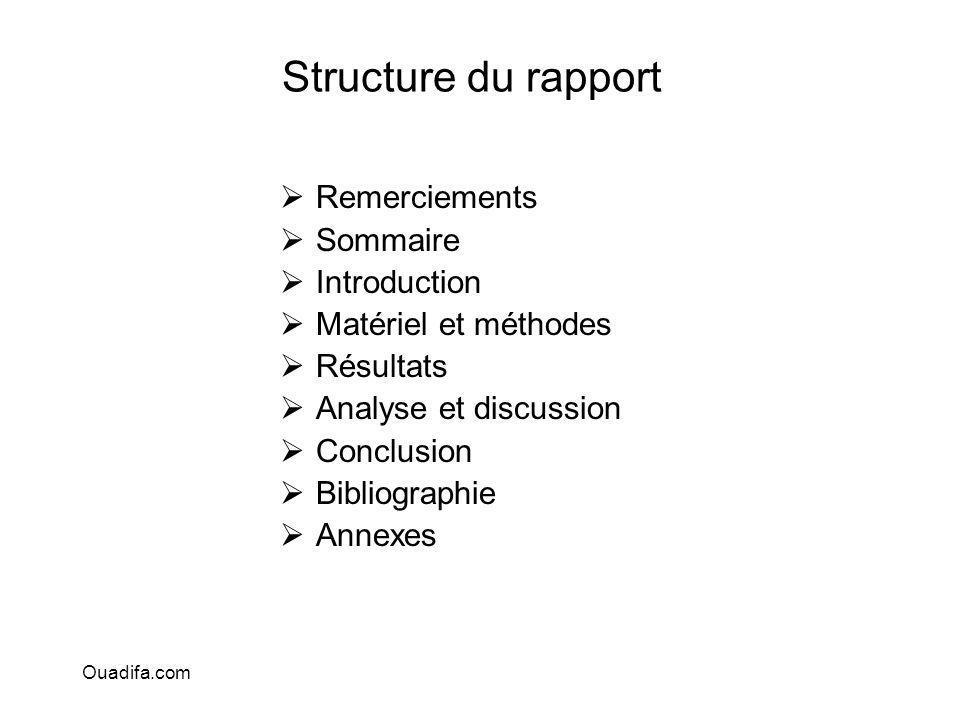 Structure du rapport Remerciements Sommaire Introduction Matériel et méthodes Résultats Analyse et discussion Conclusion Bibliographie Annexes Ouadifa