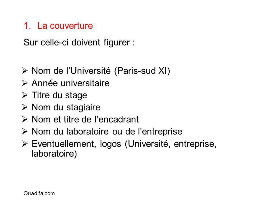 Nom de lUniversité (Paris-sud XI) Année universitaire Titre du stage Nom du stagiaire Nom et titre de lencadrant Nom du laboratoire ou de lentreprise