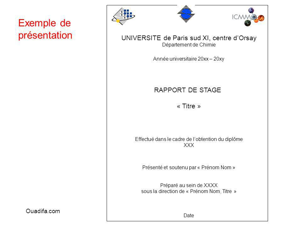 UNIVERSITE de Paris sud XI, centre dOrsay Département de Chimie Année universitaire 20xx – 20xy RAPPORT DE STAGE « Titre » Effectué dans le cadre de l