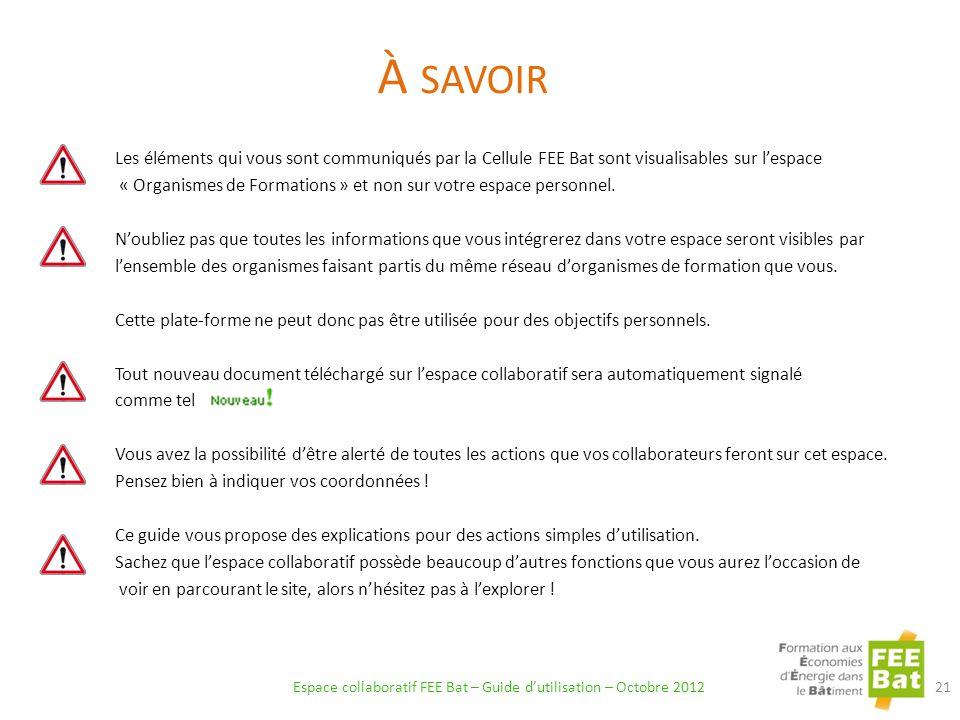À SAVOIR Espace collaboratif FEE Bat – Guide dutilisation – Octobre 2012 21 Les éléments qui vous sont communiqués par la Cellule FEE Bat sont visualisables sur lespace « Organismes de Formations » et non sur votre espace personnel.