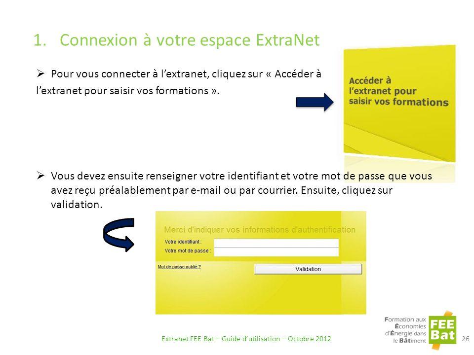 1.Connexion à votre espace ExtraNet Pour vous connecter à lextranet, cliquez sur « Accéder à lextranet pour saisir vos formations ».