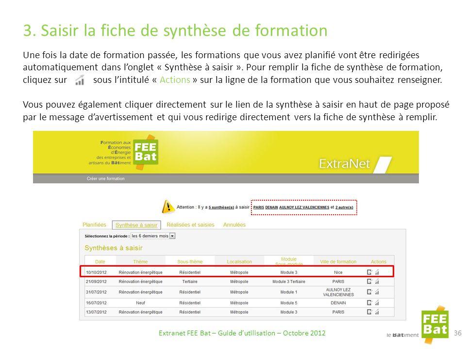 3.Saisir la fiche de synthèse de formation.