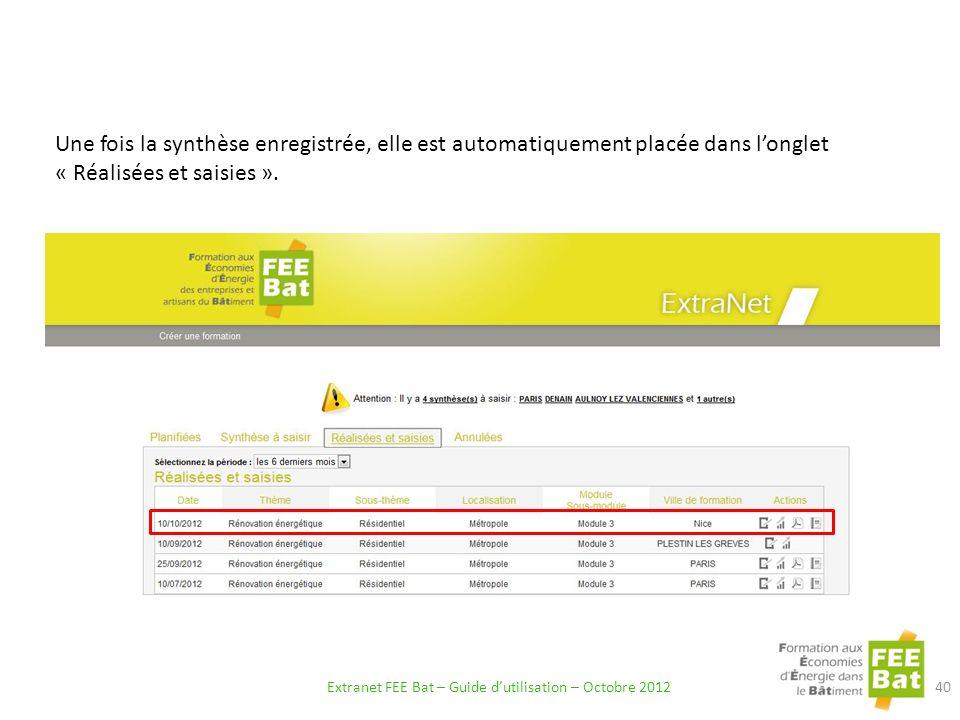 Une fois la synthèse enregistrée, elle est automatiquement placée dans longlet « Réalisées et saisies ».