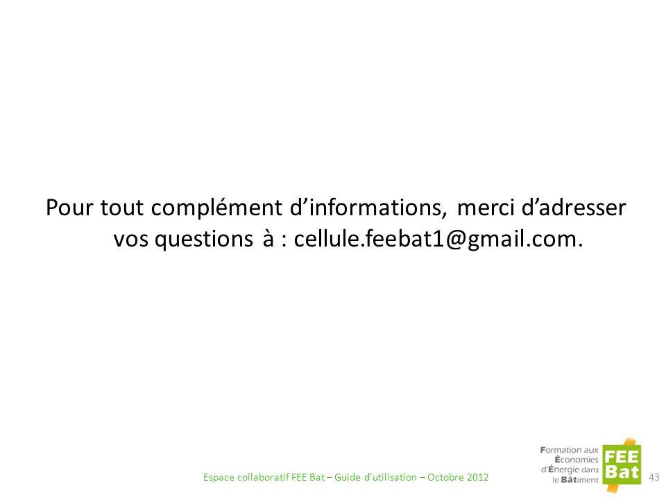 Pour tout complément dinformations, merci dadresser vos questions à : cellule.feebat1@gmail.com.