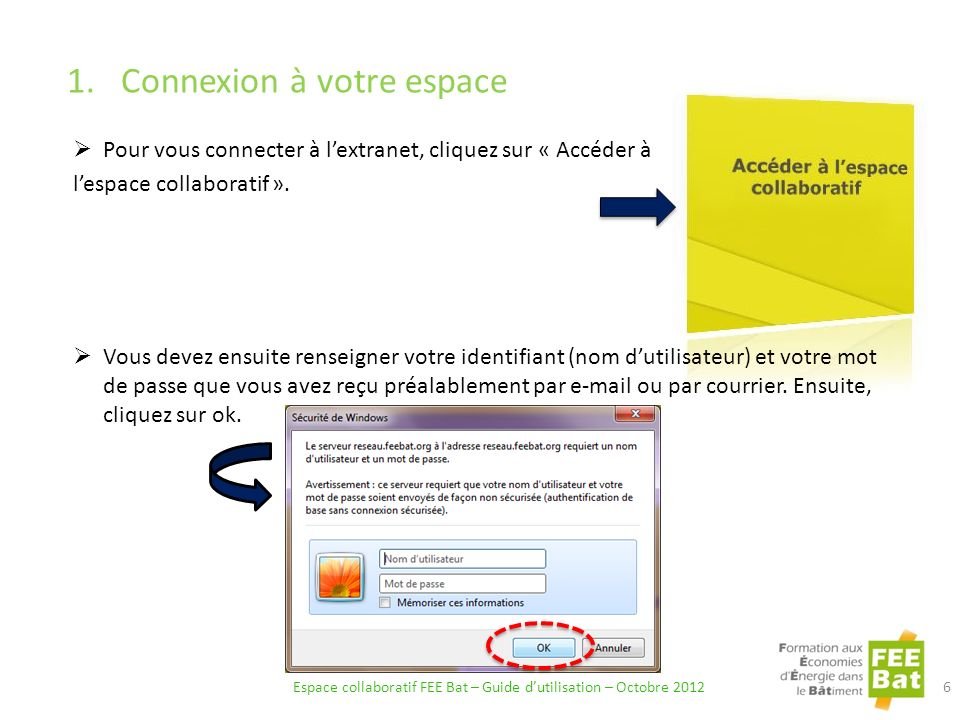 1.Connexion à votre espace Pour vous connecter à lextranet, cliquez sur « Accéder à lespace collaboratif ».
