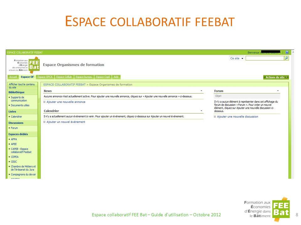 Espace collaboratif FEE Bat – Guide dutilisation – Octobre 2012 19 3) Validez en cliquant sur OK.