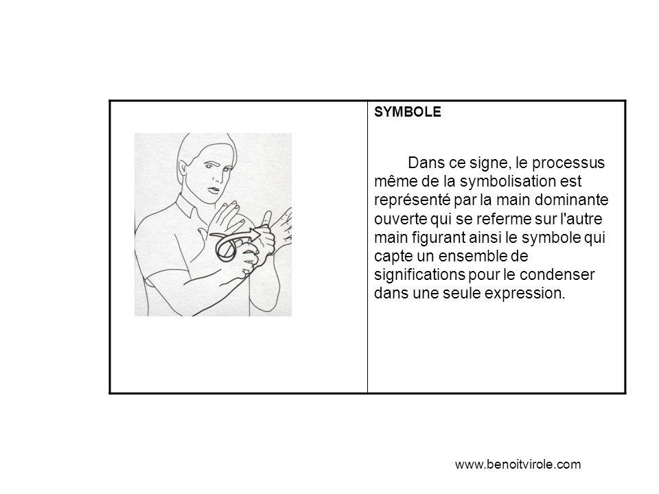 SYMBOLE Dans ce signe, le processus même de la symbolisation est représenté par la main dominante ouverte qui se referme sur l autre main figurant ainsi le symbole qui capte un ensemble de significations pour le condenser dans une seule expression.
