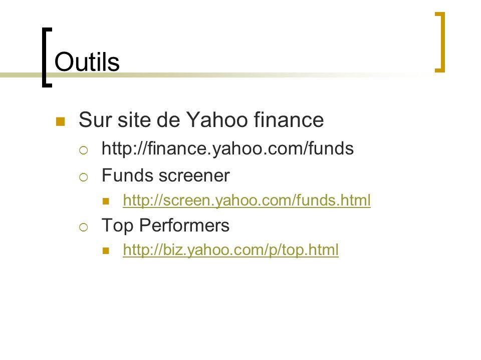 Outils Sur site de Yahoo finance http://finance.yahoo.com/funds Funds screener http://screen.yahoo.com/funds.html Top Performers http://biz.yahoo.com/