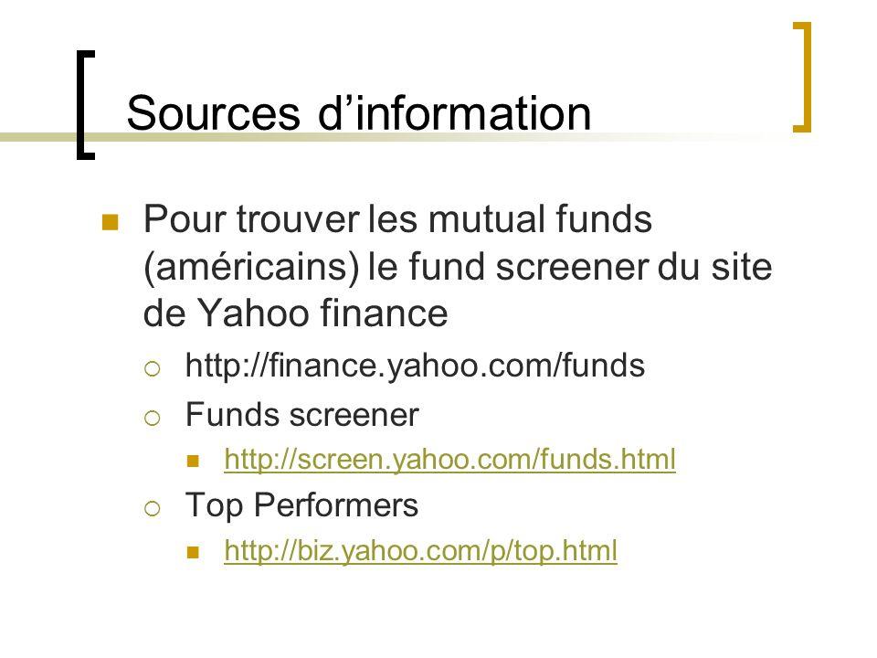 Sources dinformation Pour trouver les mutual funds (américains) le fund screener du site de Yahoo finance http://finance.yahoo.com/funds Funds screene