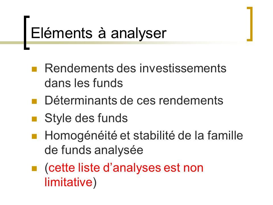 Eléments à analyser Rendements des investissements dans les funds Déterminants de ces rendements Style des funds Homogénéité et stabilité de la famill
