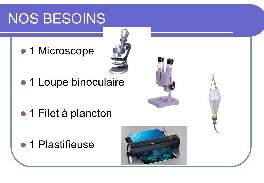 NOS BESOINS 1 Microscope 1 Loupe binoculaire 1 Filet à plancton 1 Plastifieuse