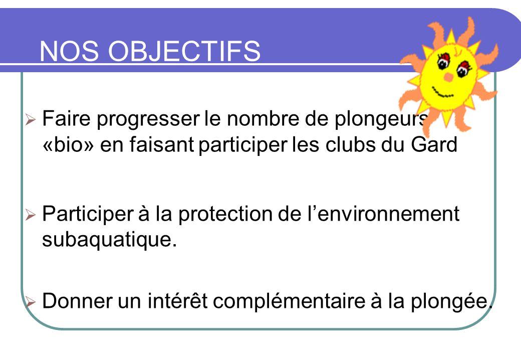 NOS OBJECTIFS Faire progresser le nombre de plongeurs «bio» en faisant participer les clubs du Gard Participer à la protection de lenvironnement subaq