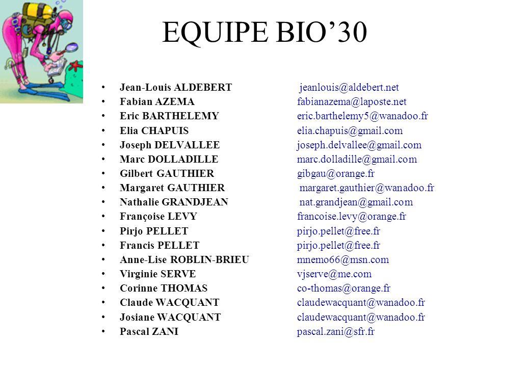 EQUIPE BIO30 Jean-Louis ALDEBERT jeanlouis@aldebert.net Fabian AZEMA fabianazema@laposte.net Eric BARTHELEMY eric.barthelemy5@wanadoo.fr Elia CHAPUIS