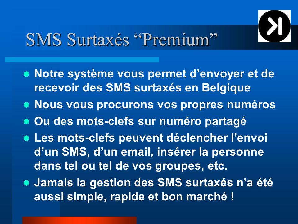 SMS Surtaxés Premium Notre système vous permet denvoyer et de recevoir des SMS surtaxés en Belgique Nous vous procurons vos propres numéros Ou des mot
