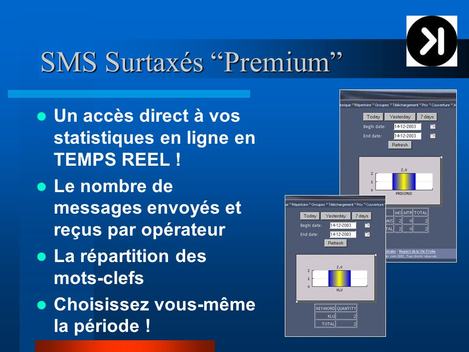 SMS Surtaxés Premium Un accès direct à vos statistiques en ligne en TEMPS REEL ! Le nombre de messages envoyés et reçus par opérateur La répartition d