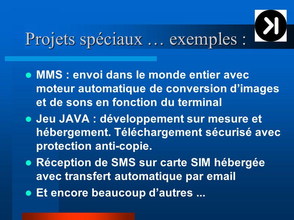 Projets spéciaux … exemples : MMS : envoi dans le monde entier avec moteur automatique de conversion dimages et de sons en fonction du terminal Jeu JAVA : développement sur mesure et hébergement.