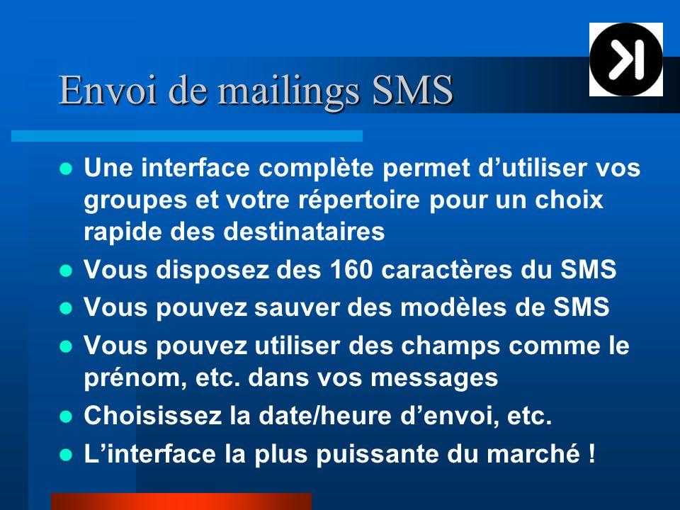 Envoi de mailings SMS Une interface complète permet dutiliser vos groupes et votre répertoire pour un choix rapide des destinataires Vous disposez des