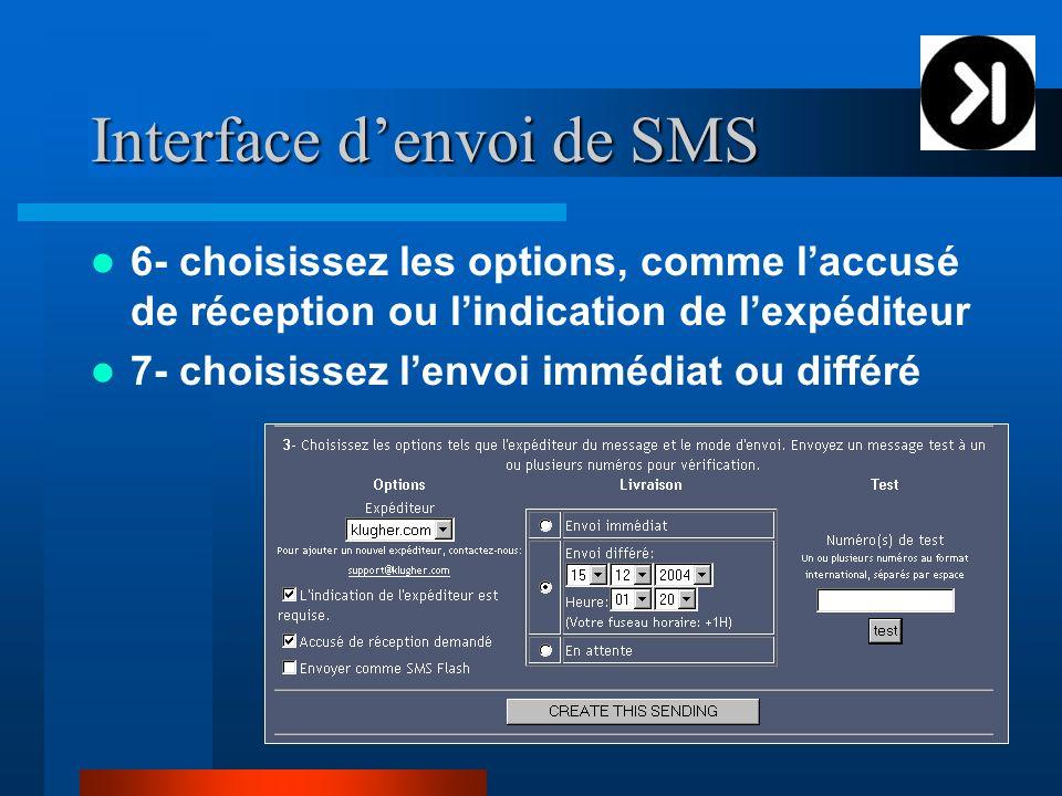 Interface denvoi de SMS 6- choisissez les options, comme laccusé de réception ou lindication de lexpéditeur 7- choisissez lenvoi immédiat ou différé
