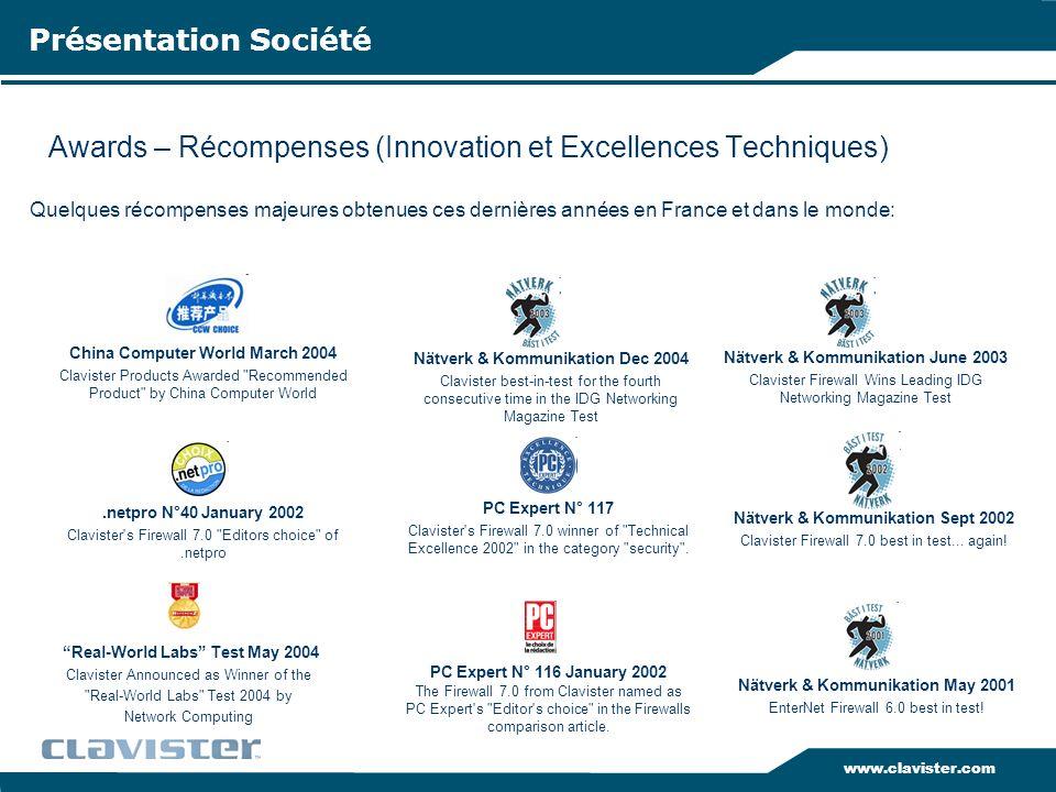 www.clavister.com Awards – Récompenses (Innovation et Excellences Techniques) Présentation Société Quelques récompenses majeures obtenues ces dernière