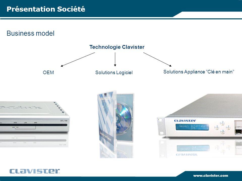 www.clavister.com Business model Présentation Société Solutions Appliance Clé en main OEM Technologie Clavister Solutions Logiciel