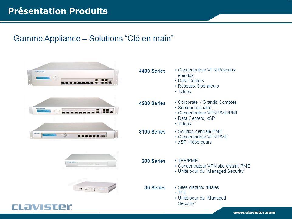 www.clavister.com 30 Series 200 Series 3100 Series 4200 Series 4400 Series Sites distants /filiales TPE Unité pour du Managed Security TPE/PME Concent
