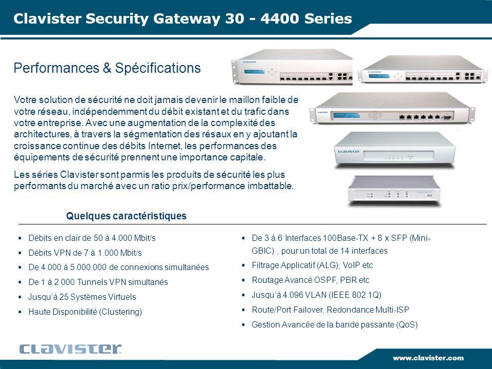 www.clavister.com Performances & Spécifications Clavister Security Gateway 30 - 4400 Series Votre solution de sécurité ne doit jamais devenir le maill