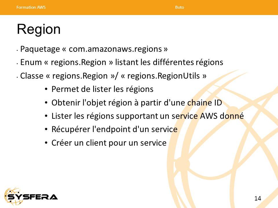 Region Paquetage « com.amazonaws.regions » Enum « regions.Region » listant les différentes régions Classe « regions.Region »/ « regions.RegionUtils » Permet de lister les régions Obtenir l objet région à partir d une chaine ID Lister les régions supportant un service AWS donné Récupérer l endpoint d un service Créer un client pour un service Formation AWSBoto 14