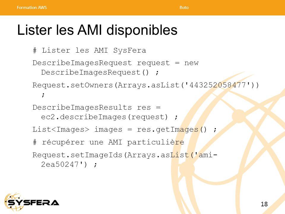 Lister les AMI disponibles # Lister les AMI SysFera DescribeImagesRequest request = new DescribeImagesRequest() ; Request.setOwners(Arrays.asList( 443252058477 )) ; DescribeImagesResults res = ec2.describeImages(request) ; List images = res.getImages() ; # récupérer une AMI particulière Request.setImageIds(Arrays.asList( ami- 2ea50247 ) ; Formation AWSBoto 18
