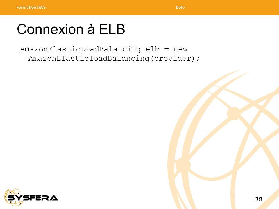 Connexion à ELB AmazonElasticLoadBalancing elb = new AmazonElasticloadBalancing(provider); Formation AWSBoto 38