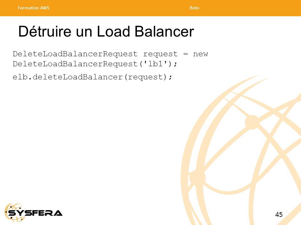 Détruire un Load Balancer DeleteLoadBalancerRequest request = new DeleteLoadBalancerRequest( lb1 ); elb.deleteLoadBalancer(request); Formation AWSBoto 45
