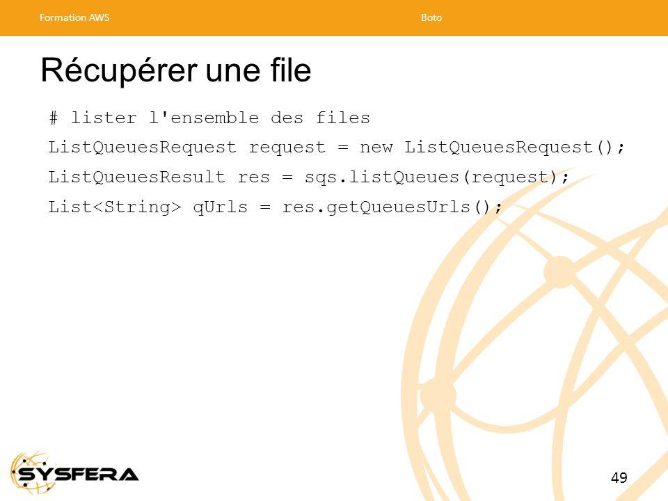 Récupérer une file # lister l ensemble des files ListQueuesRequest request = new ListQueuesRequest(); ListQueuesResult res = sqs.listQueues(request); List qUrls = res.getQueuesUrls(); Formation AWSBoto 49