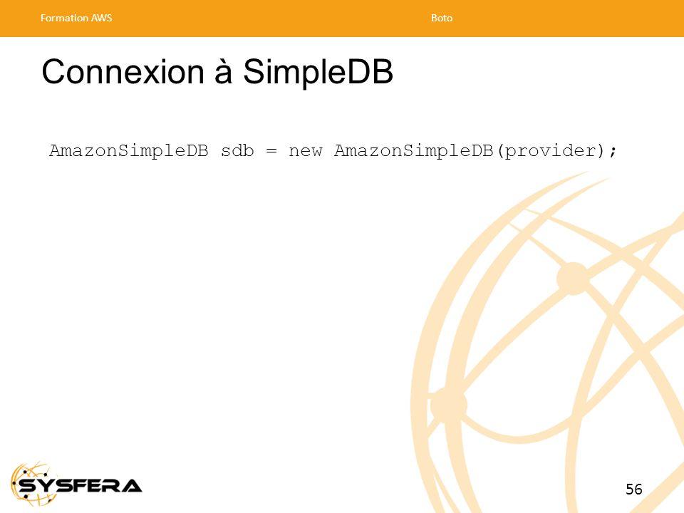Connexion à SimpleDB AmazonSimpleDB sdb = new AmazonSimpleDB(provider); Formation AWSBoto 56