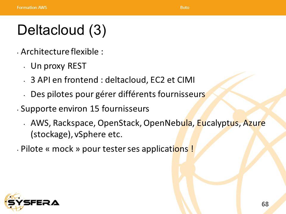 Deltacloud (3) Architecture flexible : Un proxy REST 3 API en frontend : deltacloud, EC2 et CIMI Des pilotes pour gérer différents fournisseurs Supporte environ 15 fournisseurs AWS, Rackspace, OpenStack, OpenNebula, Eucalyptus, Azure (stockage), vSphere etc.