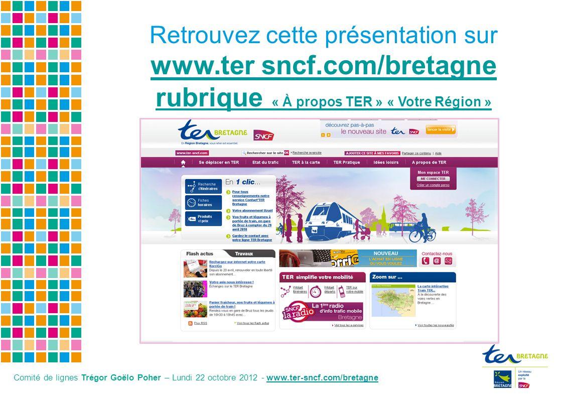 Retrouvez cette présentation sur www.ter sncf.com/bretagne rubrique « À propos TER » « Votre Région » www.ter Comité de lignes Trégor Goëlo Poher – Lu
