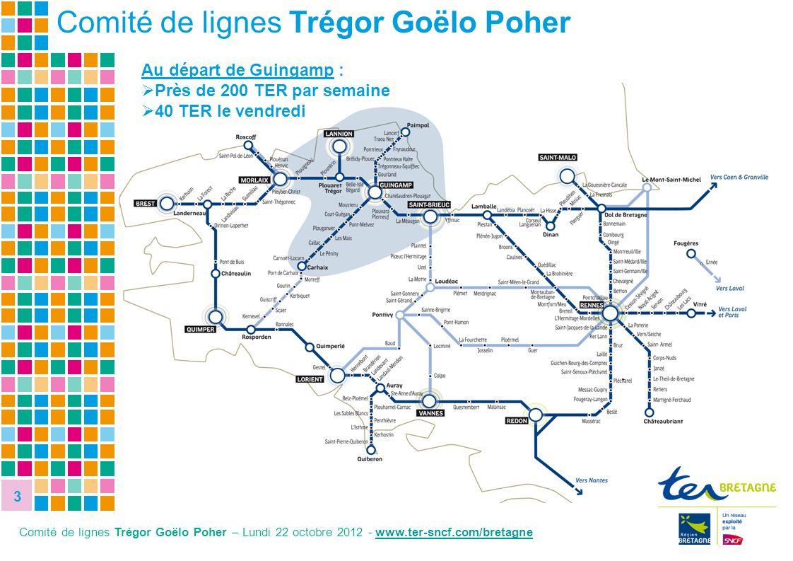 3 Comité de lignes Trégor Goëlo Poher Comité de lignes Trégor Goëlo Poher – Lundi 22 octobre 2012 - www.ter-sncf.com/bretagnewww.ter Au départ de Guin