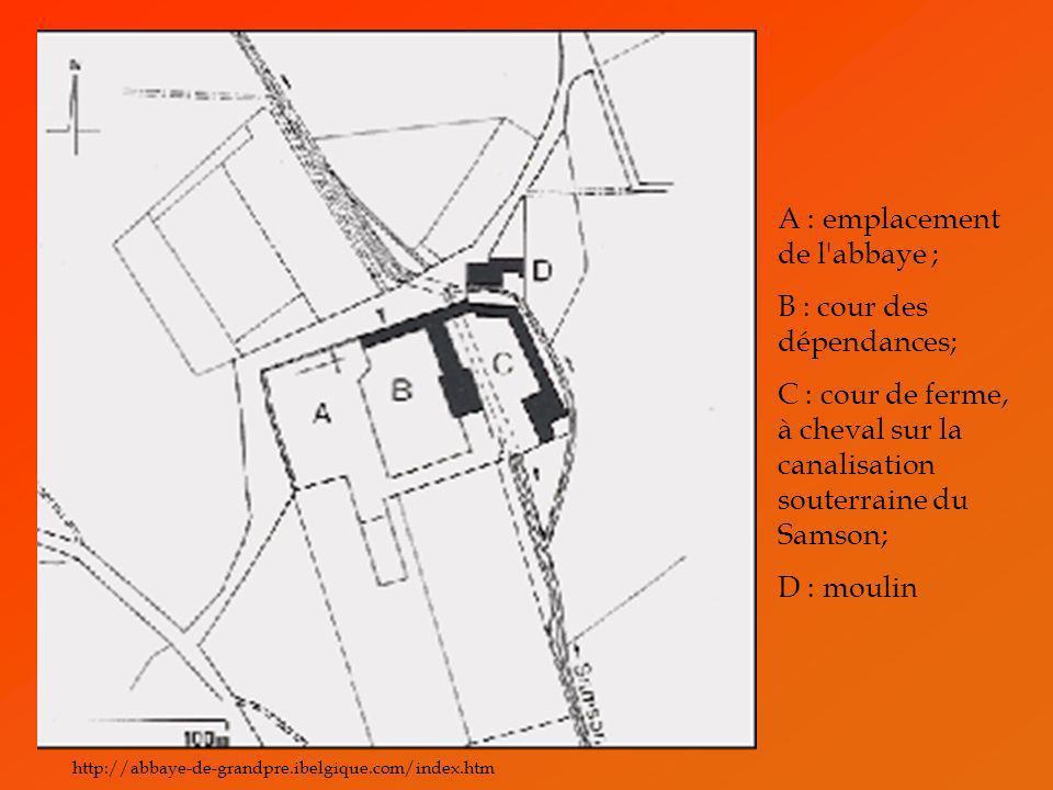 A : emplacement de l'abbaye ; B : cour des dépendances; C : cour de ferme, à cheval sur la canalisation souterraine du Samson; D : moulin http://abbay