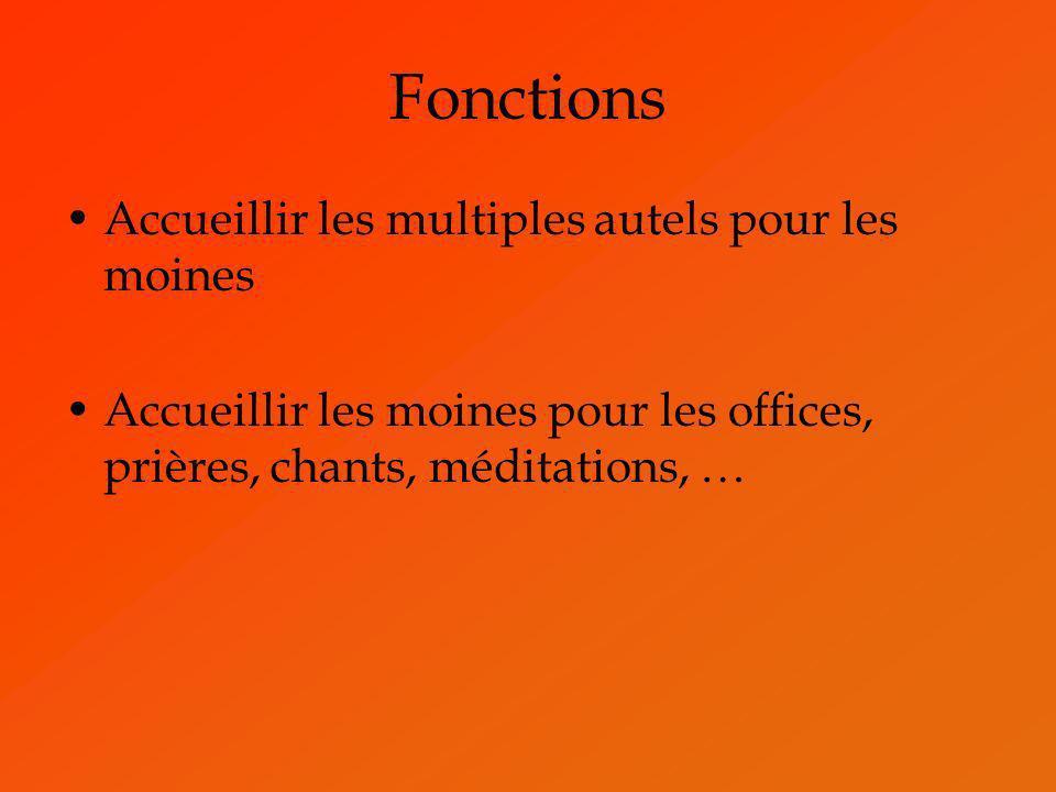 Fonctions Accueillir les multiples autels pour les moines Accueillir les moines pour les offices, prières, chants, méditations, …
