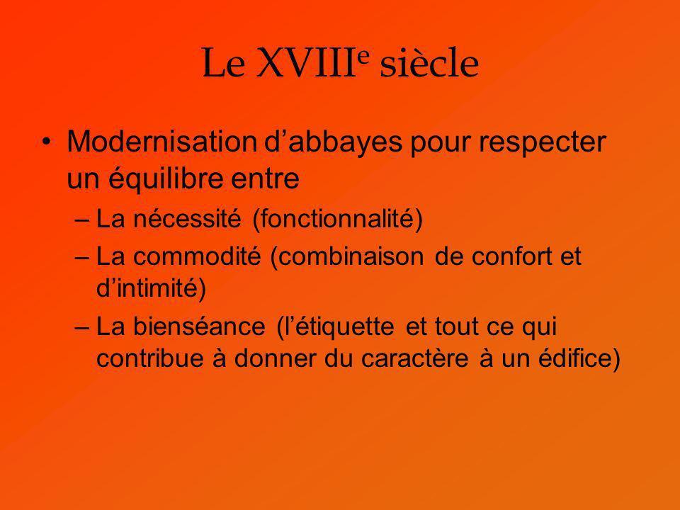 Le XVIII e siècle Modernisation dabbayes pour respecter un équilibre entre –La nécessité (fonctionnalité) –La commodité (combinaison de confort et din