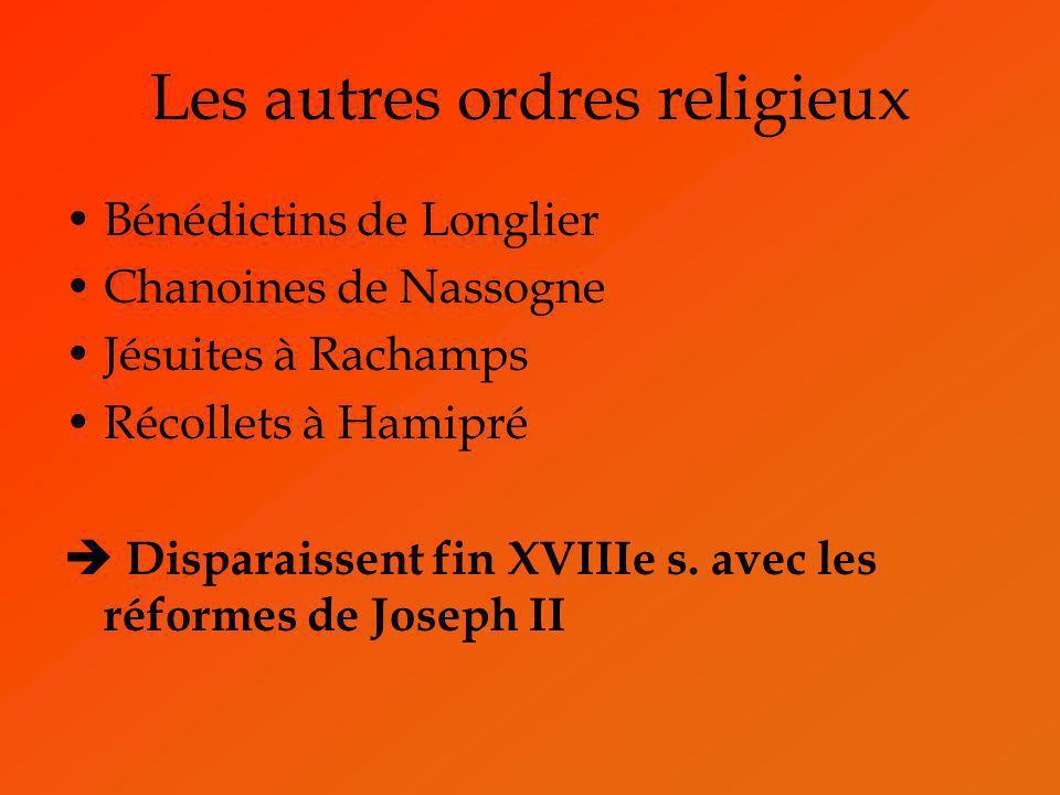 Les autres ordres religieux Bénédictins de Longlier Chanoines de Nassogne Jésuites à Rachamps Récollets à Hamipré Disparaissent fin XVIIIe s. avec les