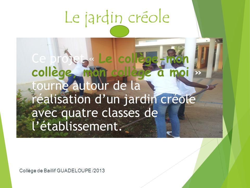 Le jardin créole Ce projet « Le collège-mon collège, mon collège à moi » tourne autour de la réalisation dun jardin créole avec quatre classes de léta