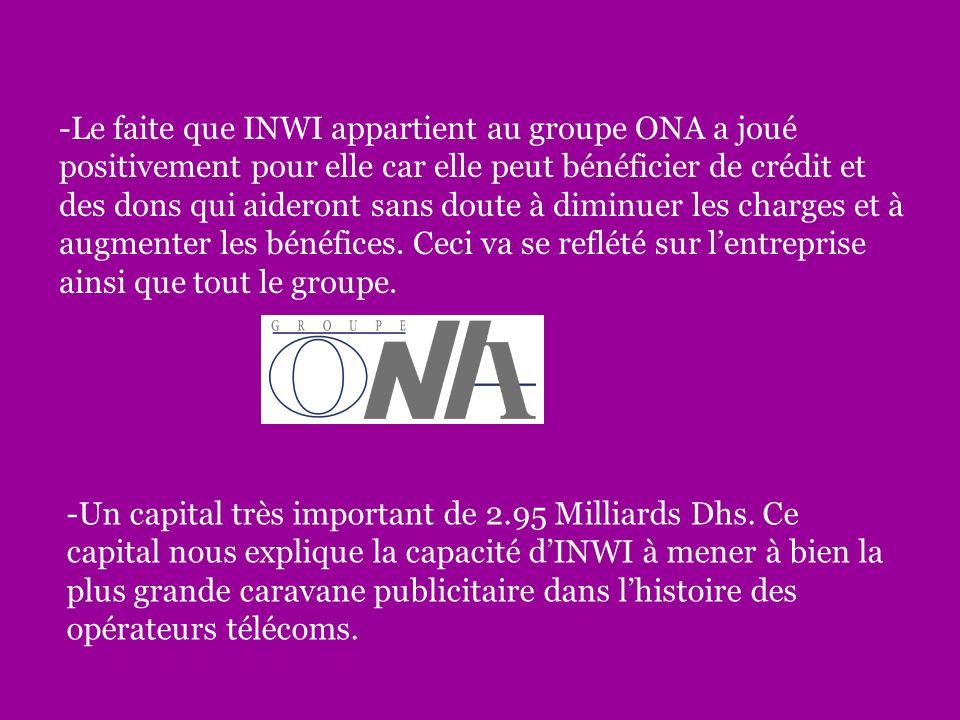 -Le faite que INWI appartient au groupe ONA a joué positivement pour elle car elle peut bénéficier de crédit et des dons qui aideront sans doute à diminuer les charges et à augmenter les bénéfices.