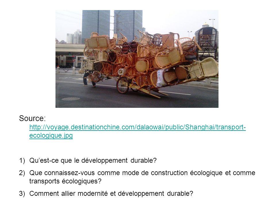 Source: http://voyage.destinationchine.com/dalaowai/public/Shanghai/transport- ecologique.jpg http://voyage.destinationchine.com/dalaowai/public/Shanghai/transport- ecologique.jpg 1)Quest-ce que le développement durable.