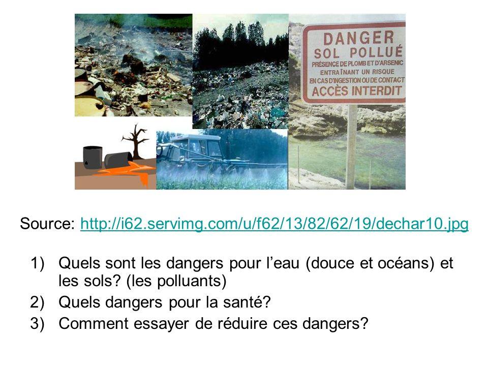 Source: http://i62.servimg.com/u/f62/13/82/62/19/dechar10.jpghttp://i62.servimg.com/u/f62/13/82/62/19/dechar10.jpg 1)Quels sont les dangers pour leau (douce et océans) et les sols.