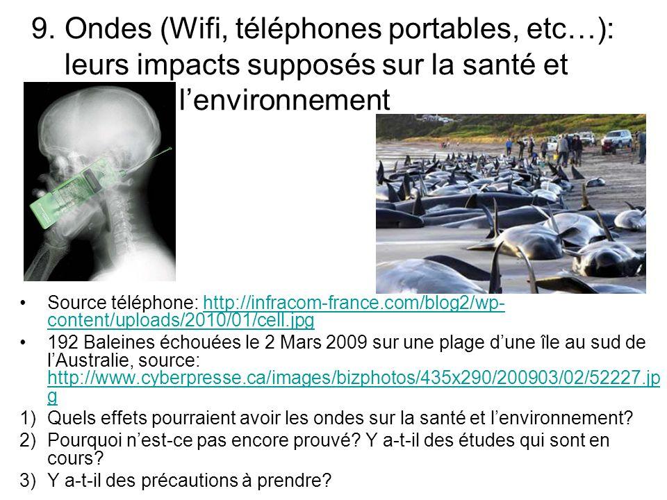 9. Ondes (Wifi, téléphones portables, etc…): leurs impacts supposés sur la santé et lenvironnement Source téléphone: http://infracom-france.com/blog2/