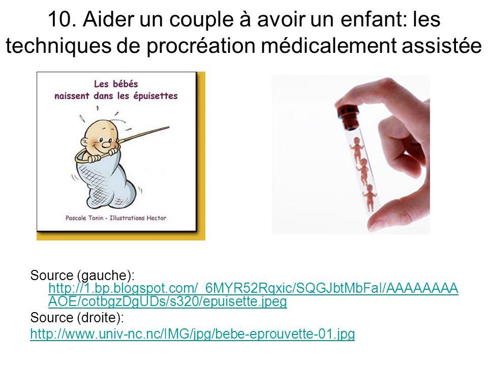 10. Aider un couple à avoir un enfant: les techniques de procréation médicalement assistée Source (gauche): http://1.bp.blogspot.com/_6MYR52Rqxic/SQGJ