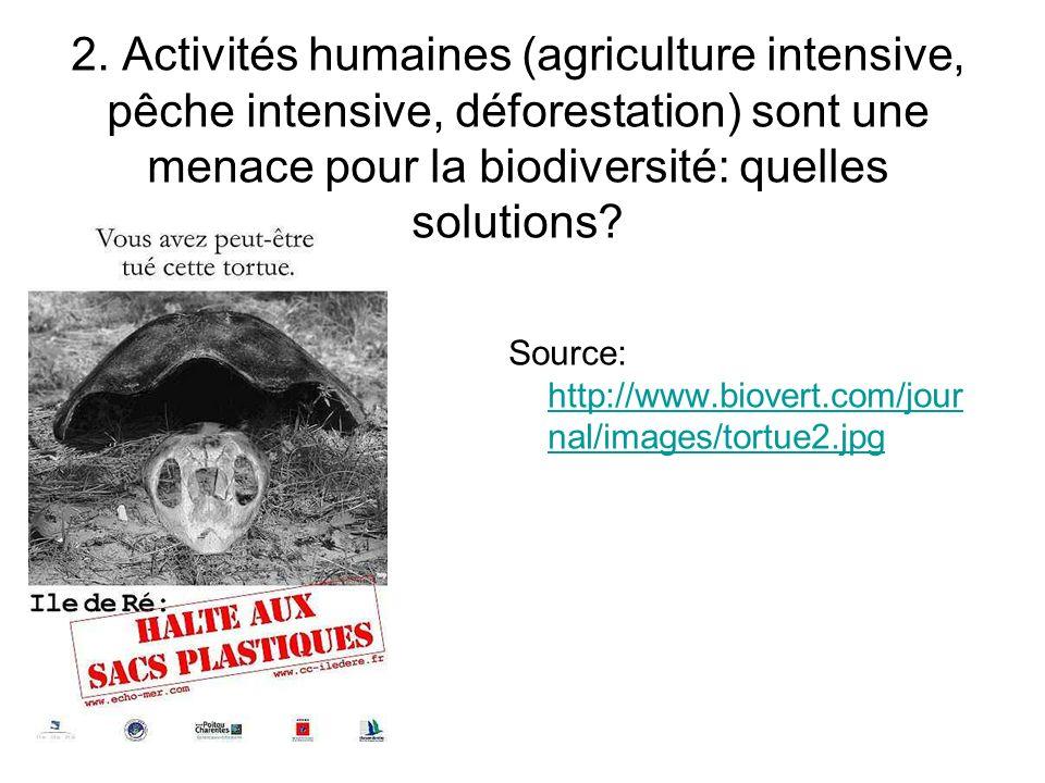 2. Activités humaines (agriculture intensive, pêche intensive, déforestation) sont une menace pour la biodiversité: quelles solutions? Source: http://