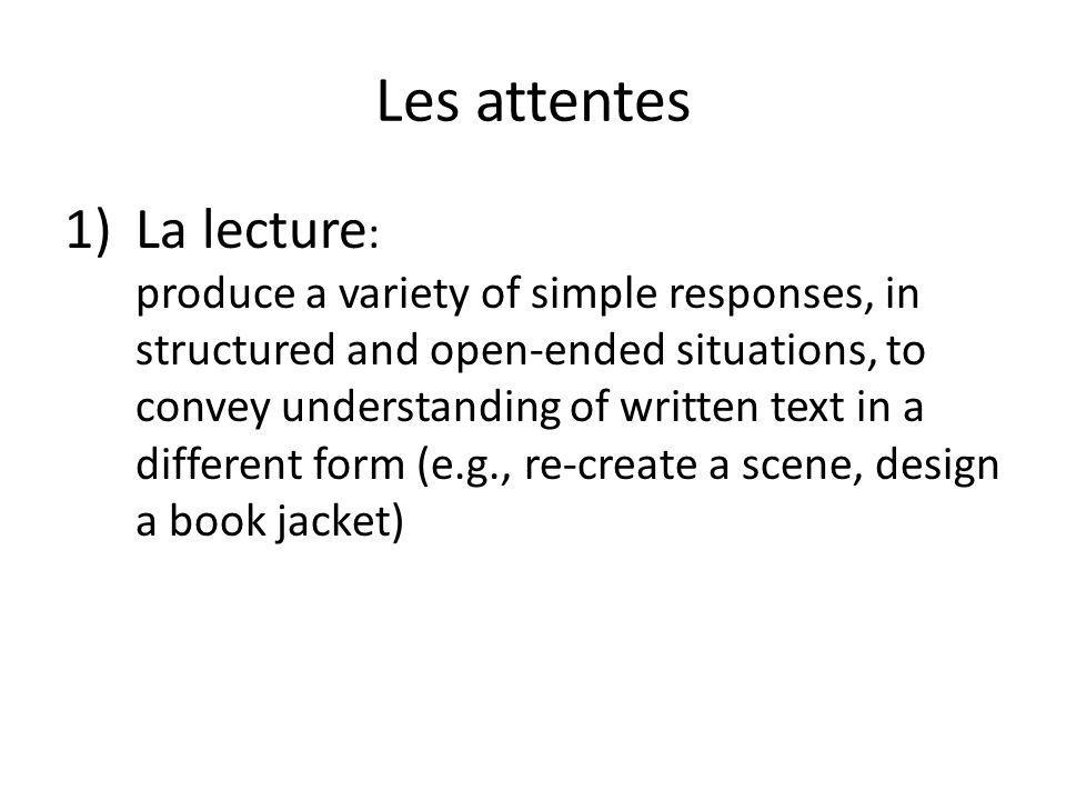 Les attentes 2) Lécriture : use strategies (e.g., brainstorming, mind mapping) to plan and write first and final drafts in guided and cooperative writing tasks produce pieces of writing in a variety of simple forms (e.g., lists, dialogues, illustrated stories), following and making adaptations to a model