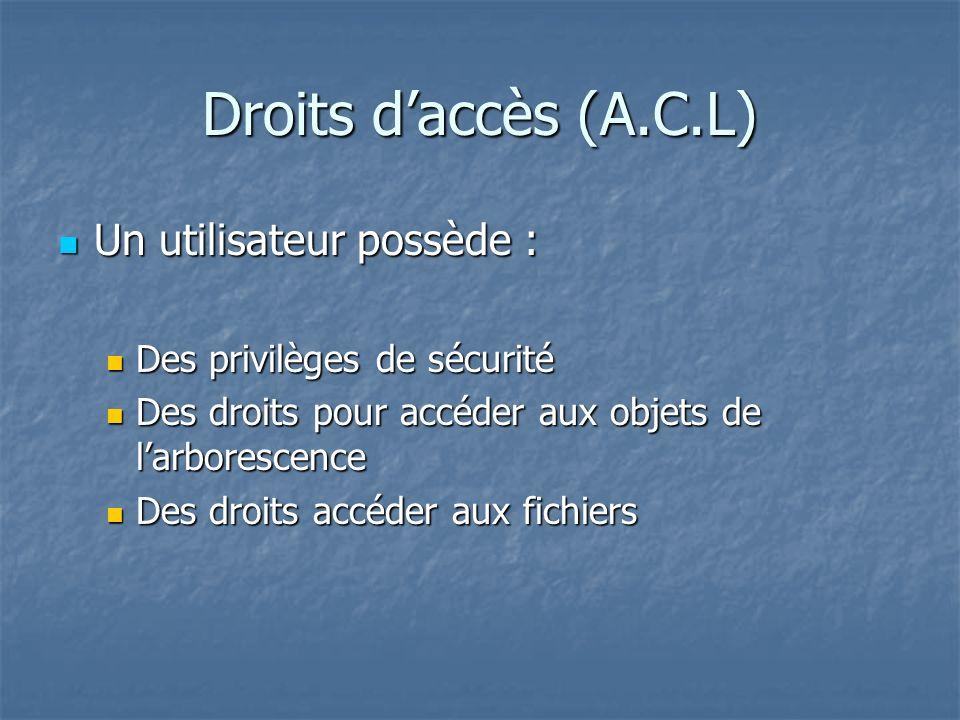 Droits daccès (A.C.L) Un utilisateur possède : Un utilisateur possède : Des privilèges de sécurité Des privilèges de sécurité Des droits pour accéder